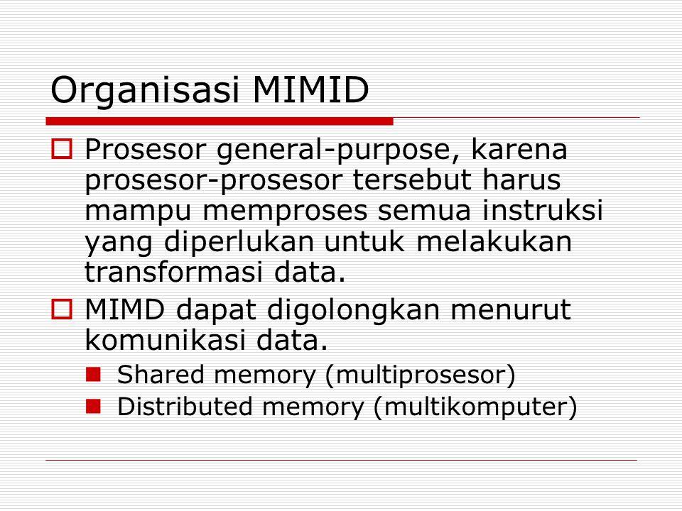 Organisasi MIMID  Prosesor general-purpose, karena prosesor-prosesor tersebut harus mampu memproses semua instruksi yang diperlukan untuk melakukan t