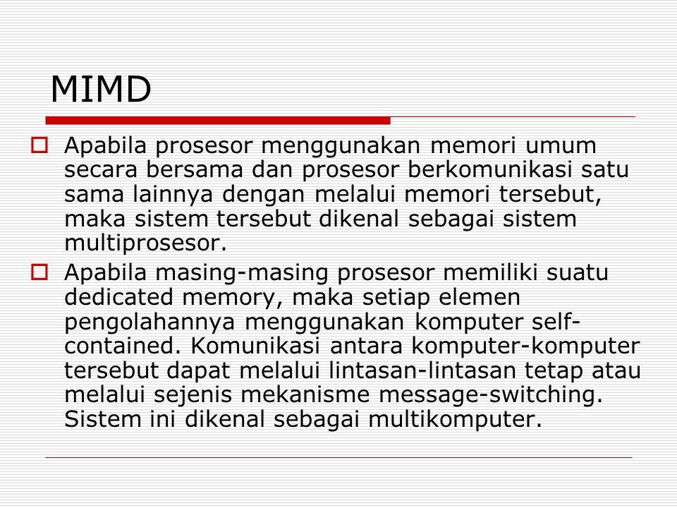 MIMD  Apabila prosesor menggunakan memori umum secara bersama dan prosesor berkomunikasi satu sama lainnya dengan melalui memori tersebut, maka siste
