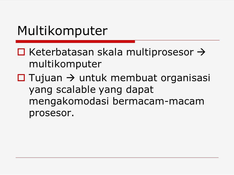 Multikomputer  Keterbatasan skala multiprosesor  multikomputer  Tujuan  untuk membuat organisasi yang scalable yang dapat mengakomodasi bermacam-m