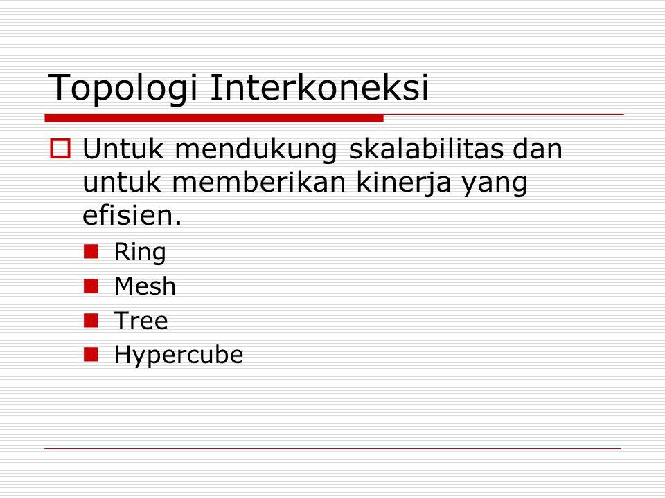 Topologi Interkoneksi  Untuk mendukung skalabilitas dan untuk memberikan kinerja yang efisien. Ring Mesh Tree Hypercube