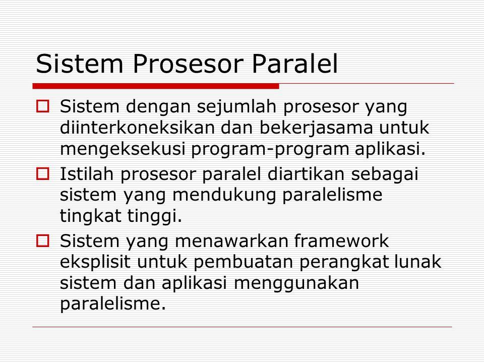 Sistem Prosesor Paralel  Sistem dengan sejumlah prosesor yang diinterkoneksikan dan bekerjasama untuk mengeksekusi program-program aplikasi.  Istila