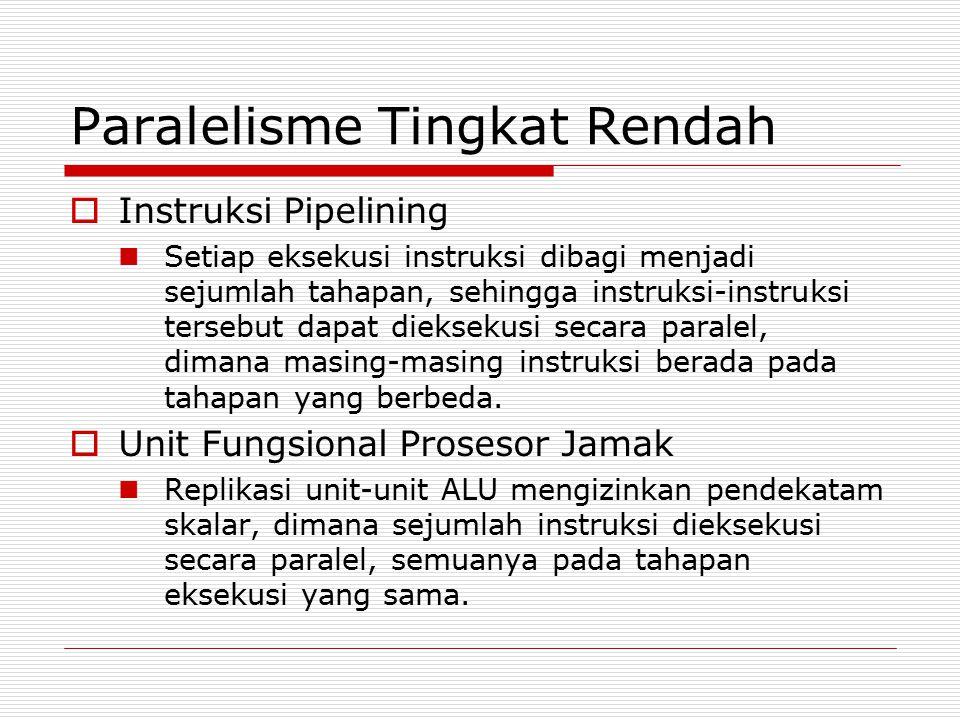 Paralelisme Tingkat Rendah  Instruksi Pipelining Setiap eksekusi instruksi dibagi menjadi sejumlah tahapan, sehingga instruksi-instruksi tersebut dap