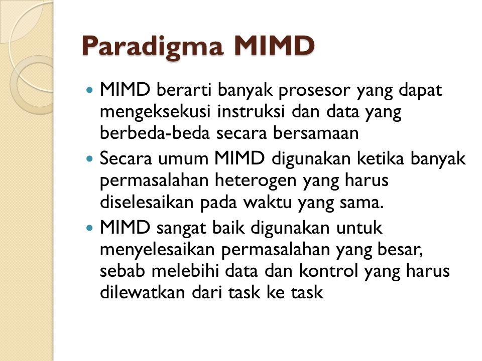 Paradigma MIMD MIMD berarti banyak prosesor yang dapat mengeksekusi instruksi dan data yang berbeda-beda secara bersamaan Secara umum MIMD digunakan ketika banyak permasalahan heterogen yang harus diselesaikan pada waktu yang sama.