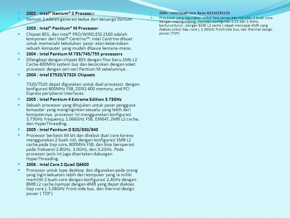 2002 : Intel® Itanium® 2 Processor Itanium 2 adalah generasi kedua dari keluarga Itanium 2003 : Intel® Pentium® M Processor Chipset 855, dan Intel® PR