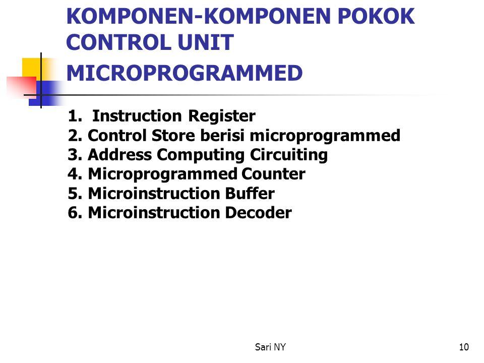Sari NY10 KOMPONEN-KOMPONEN POKOK CONTROL UNIT MICROPROGRAMMED 1. Instruction Register 2. Control Store berisi microprogrammed 3. Address Computing Ci