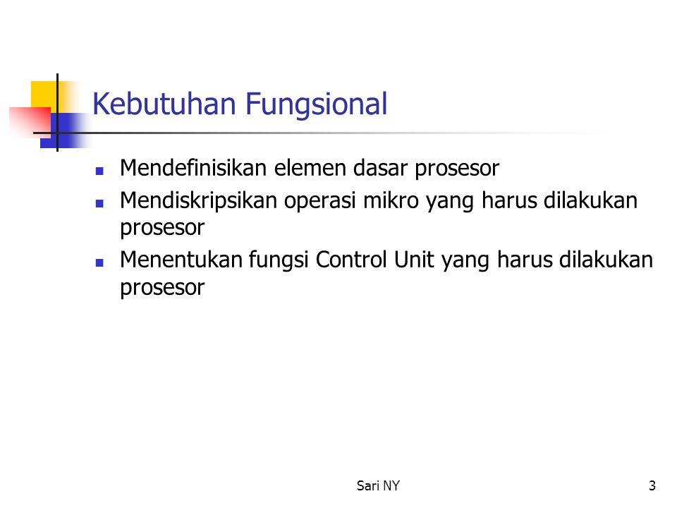 Sari NY3 Kebutuhan Fungsional Mendefinisikan elemen dasar prosesor Mendiskripsikan operasi mikro yang harus dilakukan prosesor Menentukan fungsi Contr