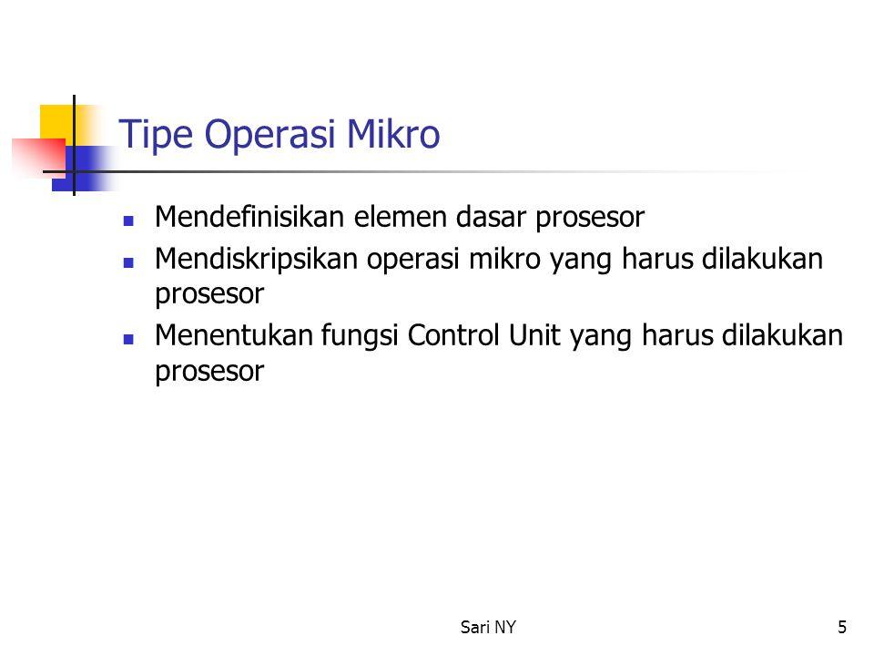 Sari NY5 Tipe Operasi Mikro Mendefinisikan elemen dasar prosesor Mendiskripsikan operasi mikro yang harus dilakukan prosesor Menentukan fungsi Control
