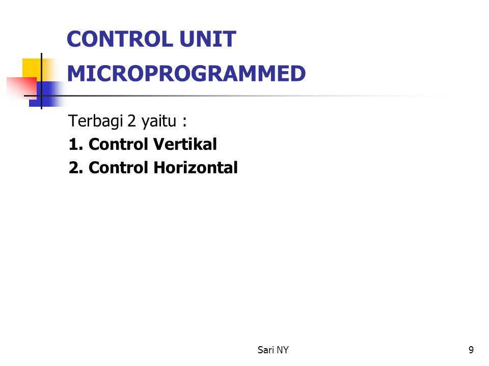 Sari NY9 CONTROL UNIT MICROPROGRAMMED Terbagi 2 yaitu : 1. Control Vertikal 2. Control Horizontal