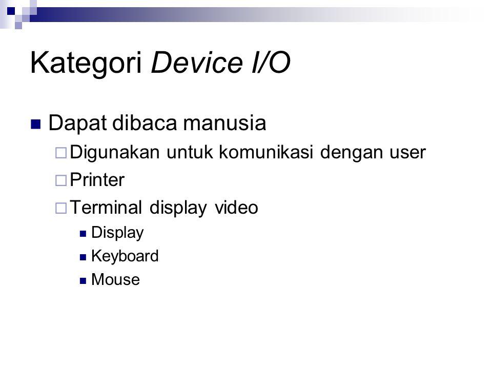 Kategori Device I/O Dapat dibaca mesin  Digunakan untuk komunikasi dengan peralatan elektronik  Disk dan tape drives  Sensor  Controller  Actuator