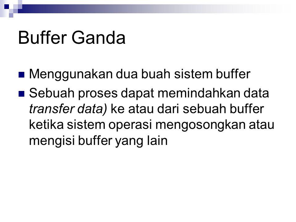 Buffer Ganda Menggunakan dua buah sistem buffer Sebuah proses dapat memindahkan data transfer data) ke atau dari sebuah buffer ketika sistem operasi m