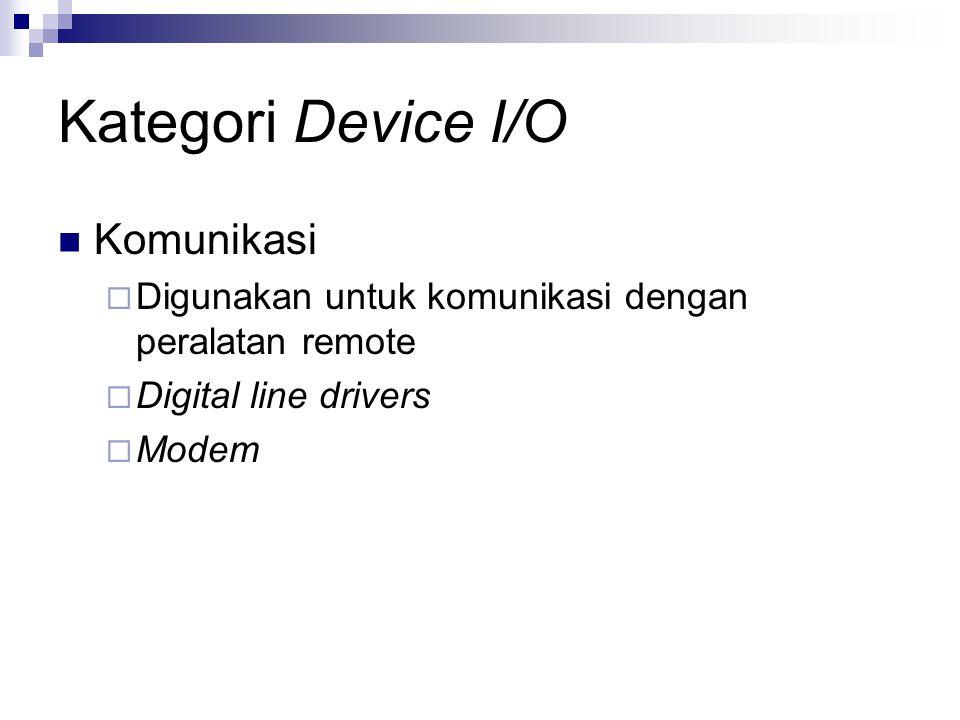 Perbedaan didalam device I/O Data rate  Merupakan kecepatan transfer data dalam komunikasi data digital.
