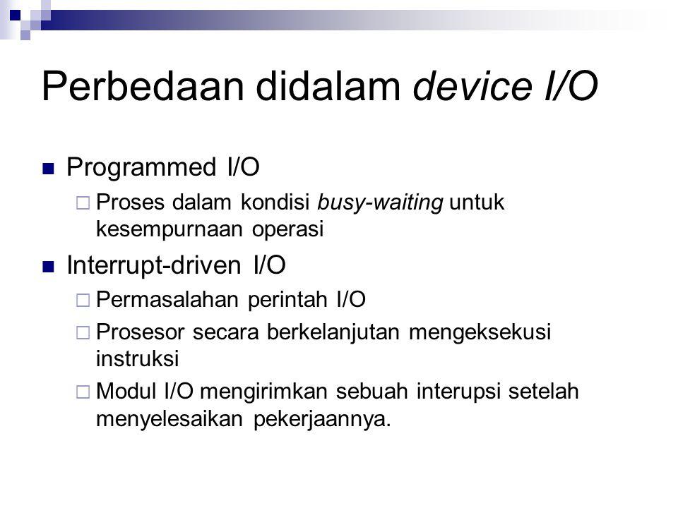 Perbedaan didalam device I/O Programmed I/O  Proses dalam kondisi busy-waiting untuk kesempurnaan operasi Interrupt-driven I/O  Permasalahan perinta