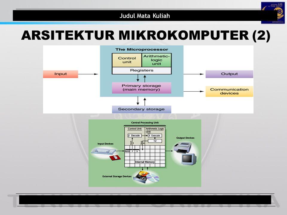Judul Mata Kuliah ARSITEKTUR MIKROKOMPUTER (2) Judul Pokok Bahasan7/total