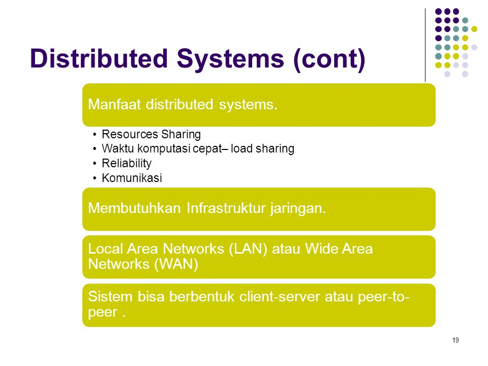 Distributed Systems (cont) 19 Manfaat distributed systems. Resources Sharing Waktu komputasi cepat– load sharing Reliability Komunikasi Membutuhkan In