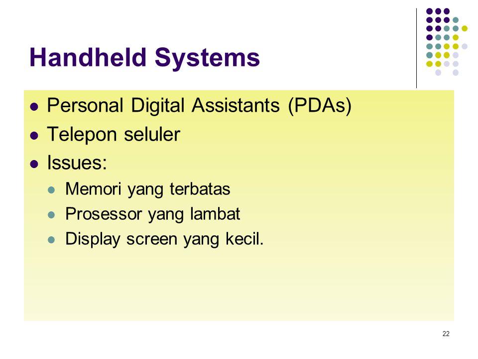 Handheld Systems Personal Digital Assistants (PDAs) Telepon seluler Issues: Memori yang terbatas Prosessor yang lambat Display screen yang kecil. 22