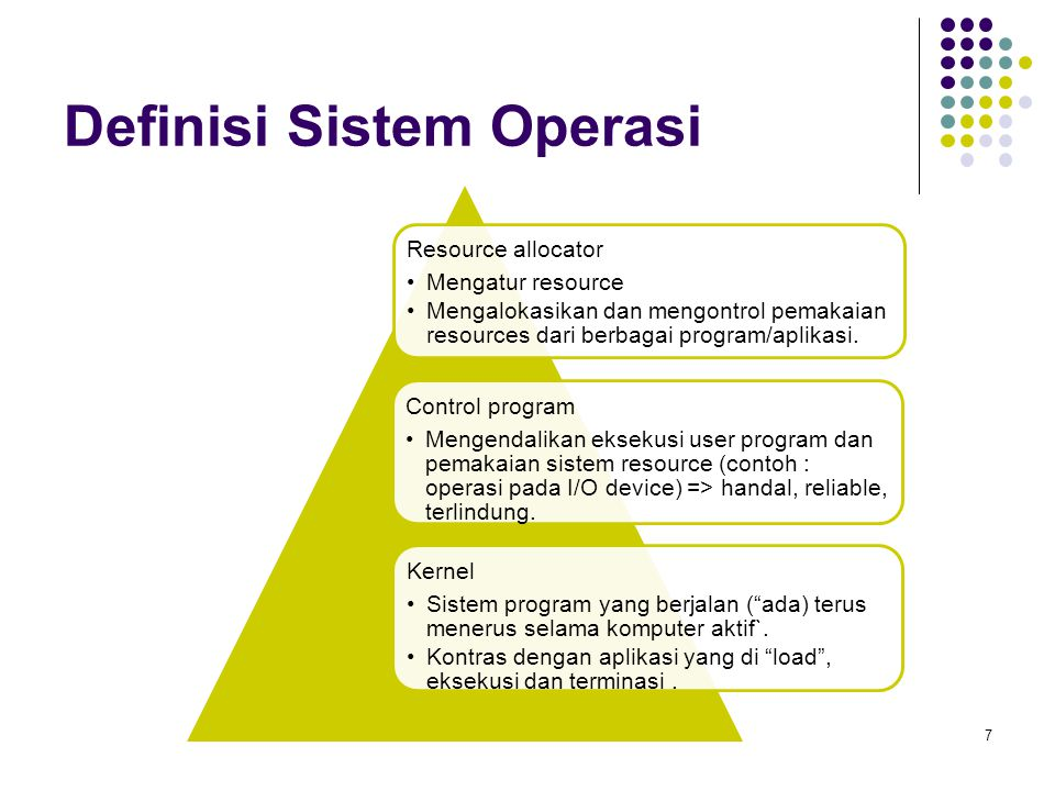 Evolusi Sistem Operasi 8 OS sederhana Program tunggal, satu user, satu mesin komputer (CPU) : komputer generasi pertama, awal mesin PCs, controller: lift, Playstation etc.