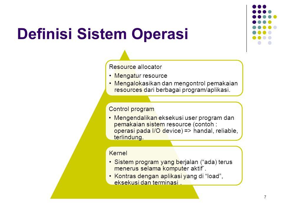 Definisi Sistem Operasi 7 Resource allocator Mengatur resource Mengalokasikan dan mengontrol pemakaian resources dari berbagai program/aplikasi. Contr