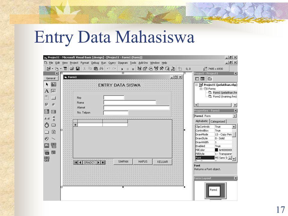 17 Entry Data Mahasiswa
