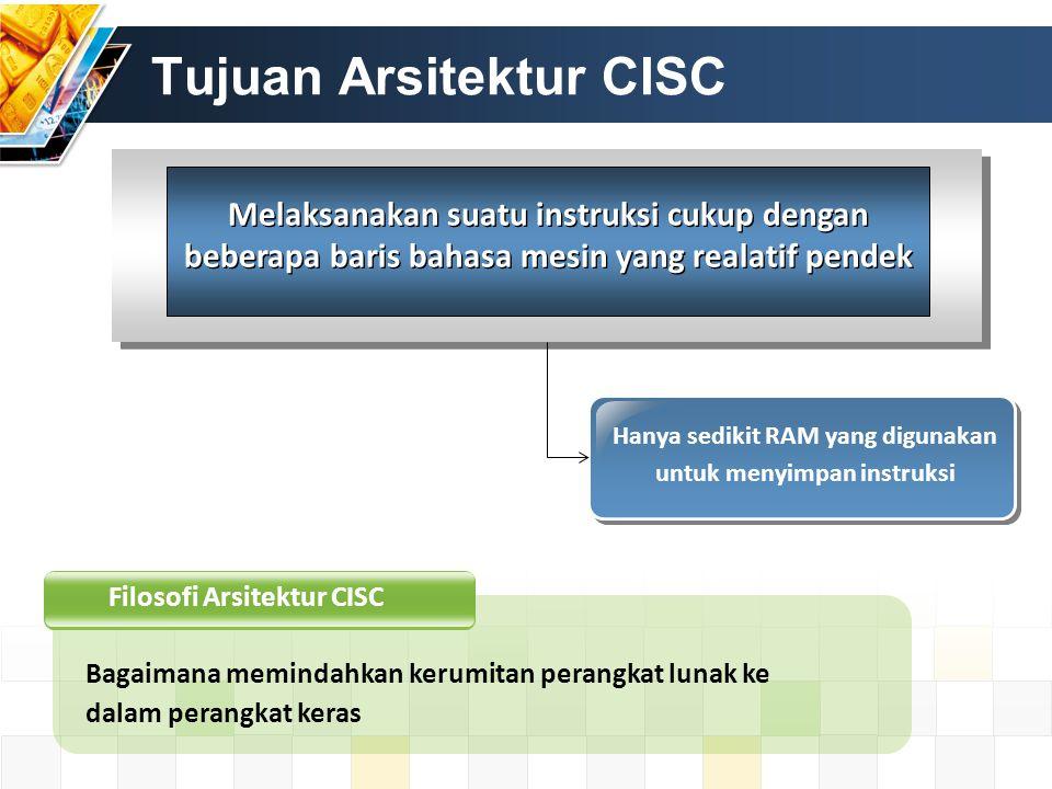 Tujuan Arsitektur CISC Melaksanakan suatu instruksi cukup dengan beberapa baris bahasa mesin yang realatif pendek Hanya sedikit RAM yang digunakan unt