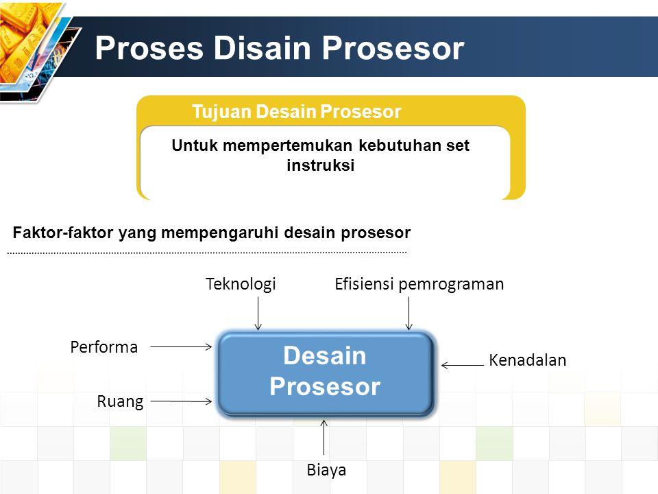 Proses Disain Prosesor Tujuan Desain Prosesor Untuk mempertemukan kebutuhan set instruksi Faktor-faktor yang mempengaruhi desain prosesor Desain Prose