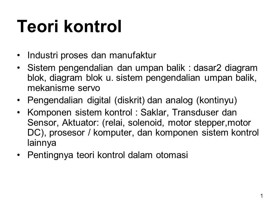 2 Teori Kontrol Sistem Kontrol Blok Diagram Fungsi Alih Stabilitas Sistem Pentingnya teori kontrol dalam otomasi