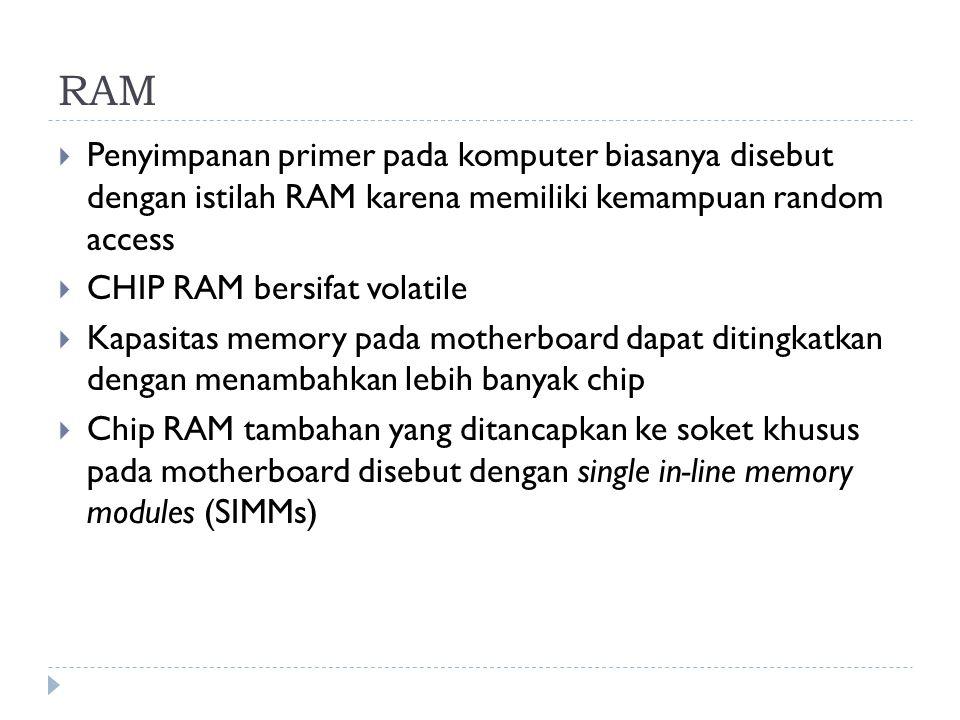RAM  Penyimpanan primer pada komputer biasanya disebut dengan istilah RAM karena memiliki kemampuan random access  CHIP RAM bersifat volatile  Kapa