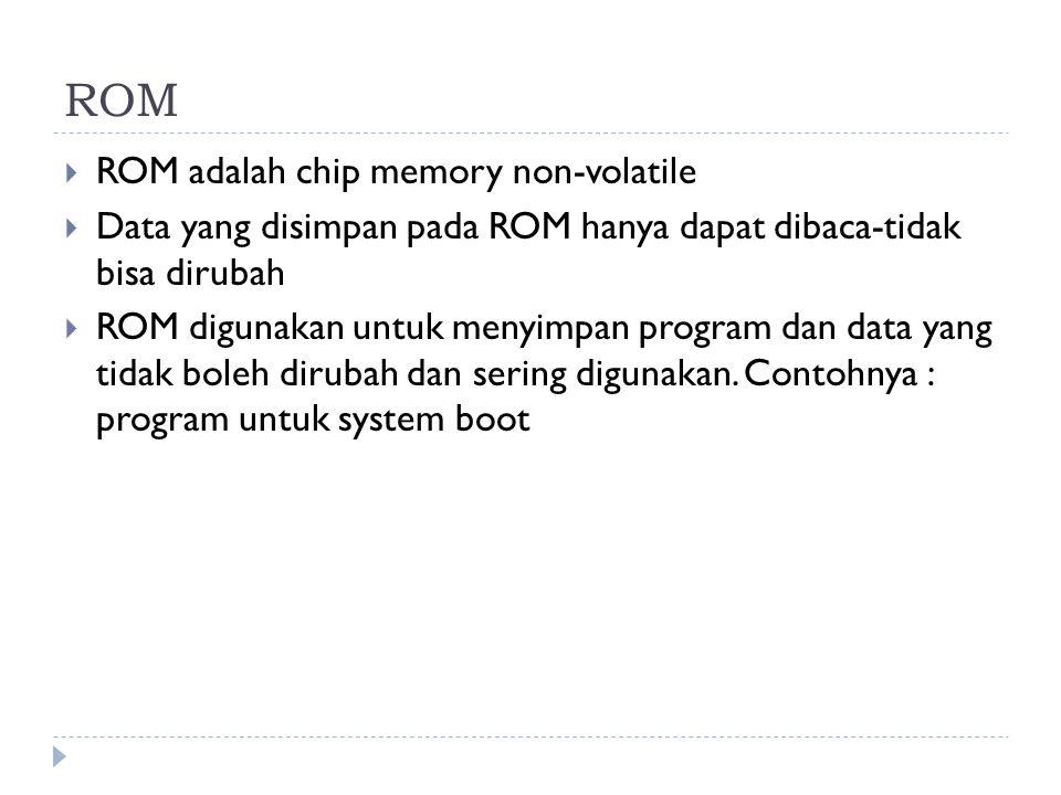 ROM  ROM adalah chip memory non-volatile  Data yang disimpan pada ROM hanya dapat dibaca-tidak bisa dirubah  ROM digunakan untuk menyimpan program