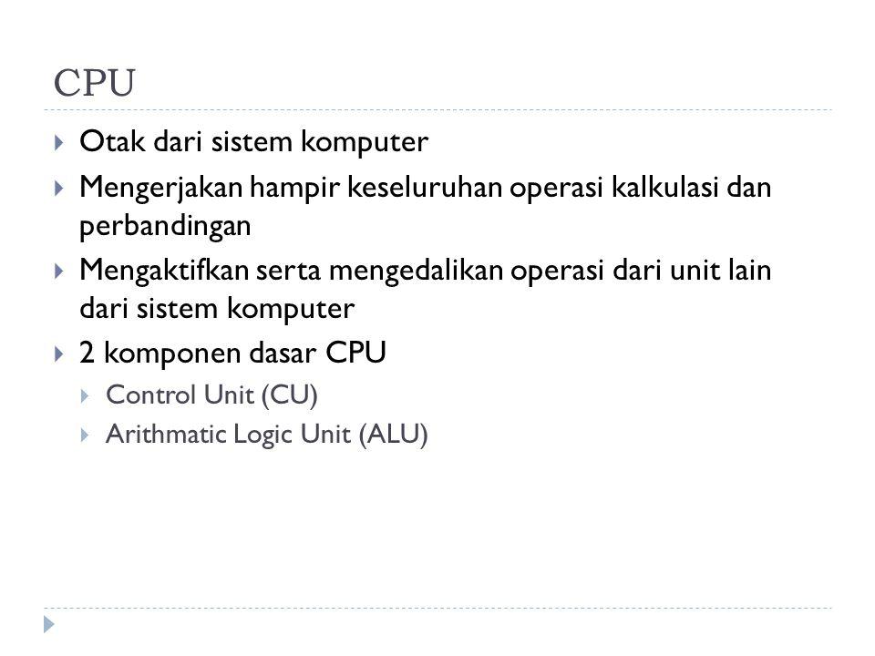 CPU  Otak dari sistem komputer  Mengerjakan hampir keseluruhan operasi kalkulasi dan perbandingan  Mengaktifkan serta mengedalikan operasi dari uni