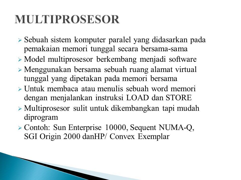  Sebuah sistem komputer paralel yang didasarkan pada pemakaian memori tunggal secara bersama-sama  Model multiprosesor berkembang menjadi software  Menggunakan bersama sebuah ruang alamat virtual tunggal yang dipetakan pada memori bersama  Untuk membaca atau menulis sebuah word memori dengan menjalankan instruksi LOAD dan STORE  Multiprosesor sulit untuk dikembangkan tapi mudah diprogram  Contoh: Sun Enterprise 10000, Sequent NUMA-Q, SGI Origin 2000 danHP/ Convex Exemplar