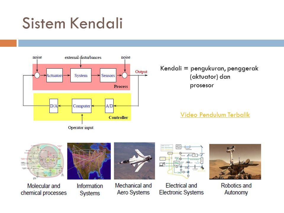 Sistem Kendali Kendali = pengukuran, penggerak (aktuator) dan prosesor Video Pendulum Terbalik