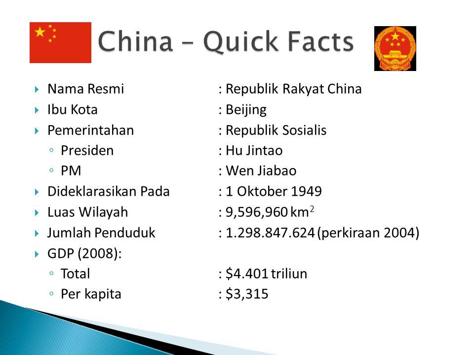  Nama Resmi: Republik Rakyat China  Ibu Kota: Beijing  Pemerintahan: Republik Sosialis ◦ Presiden: Hu Jintao ◦ PM: Wen Jiabao  Dideklarasikan Pada
