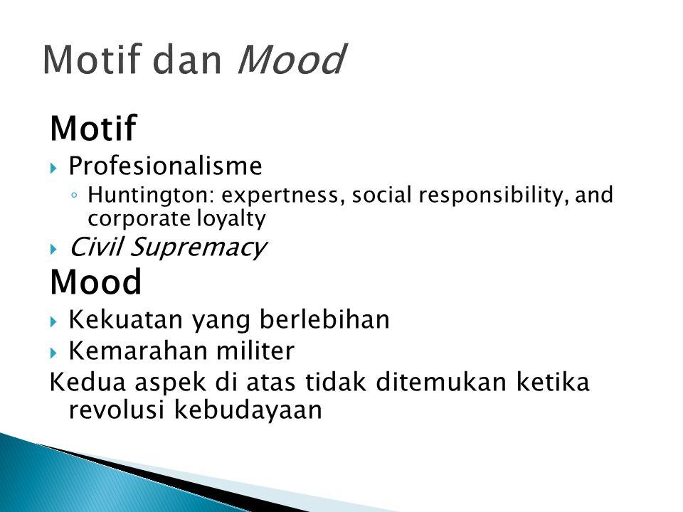 Motif  Profesionalisme ◦ Huntington: expertness, social responsibility, and corporate loyalty  Civil Supremacy Mood  Kekuatan yang berlebihan  Kem
