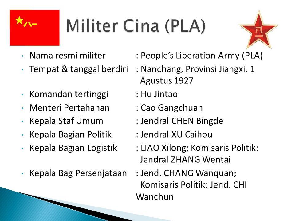 Nama resmi militer: People's Liberation Army (PLA) Tempat & tanggal berdiri: Nanchang, Provinsi Jiangxi, 1 Agustus 1927 Komandan tertinggi: Hu Jintao