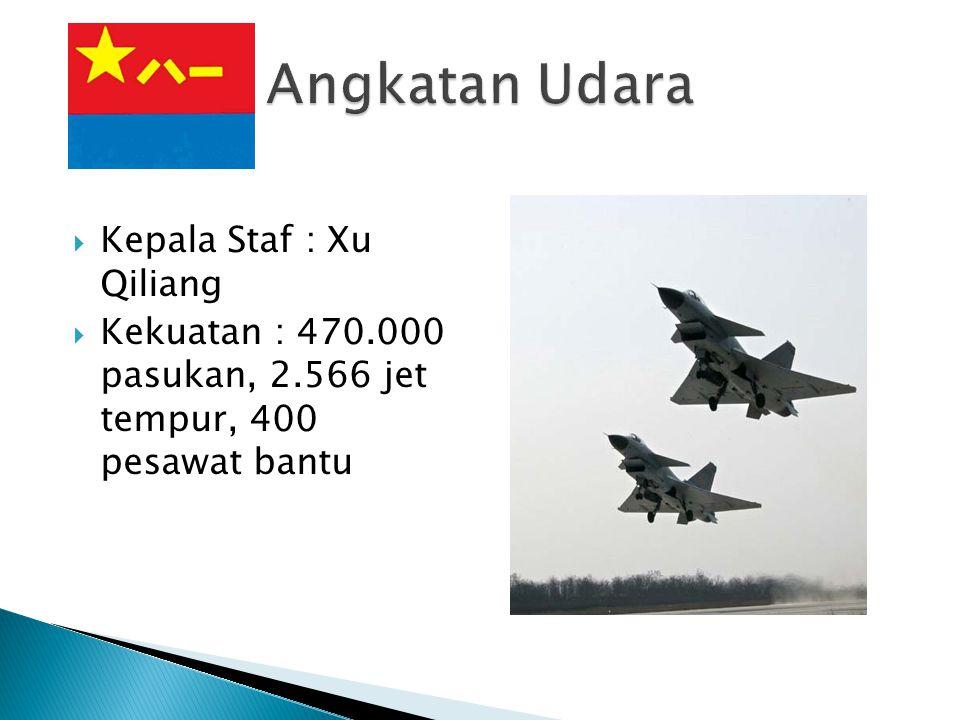  Kepala Staf : Xu Qiliang  Kekuatan : 470.000 pasukan, 2.566 jet tempur, 400 pesawat bantu