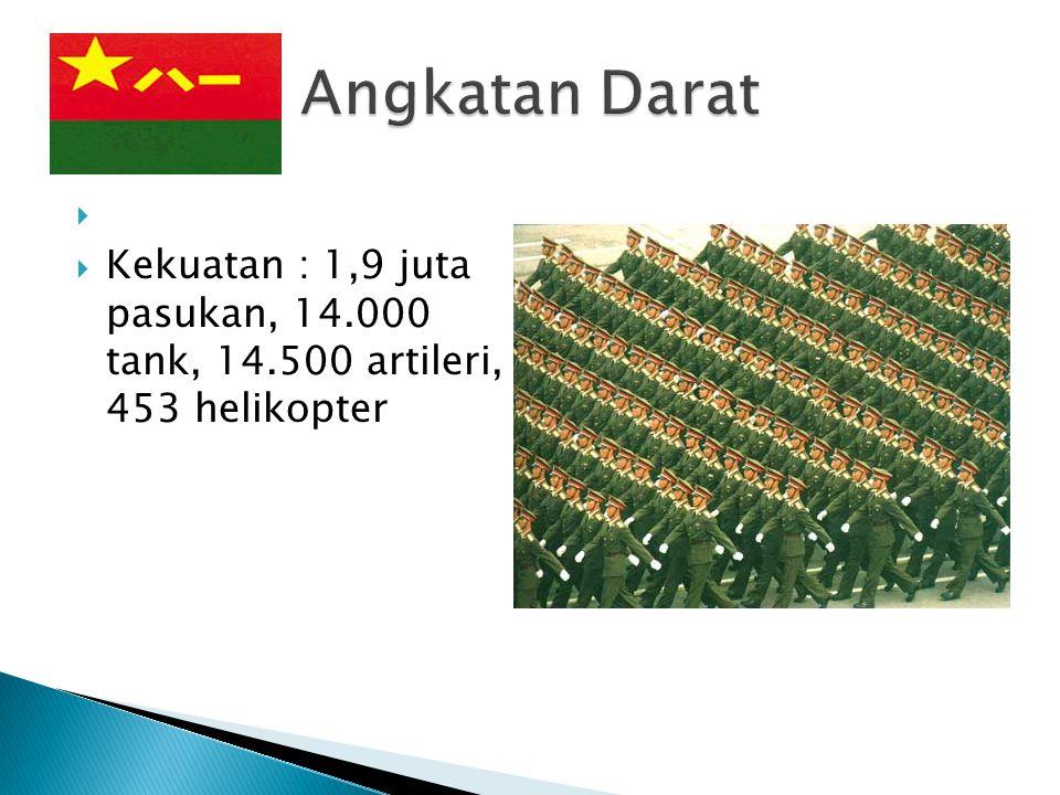   Kekuatan : 1,9 juta pasukan, 14.000 tank, 14.500 artileri, 453 helikopter