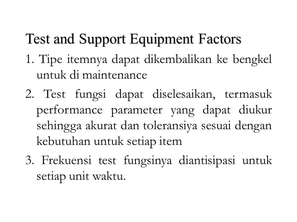 Test and Support Equipment Factors Secara umum yang termasuk kedalam test and support equipment adalah precision electronic test equipment, mechanical