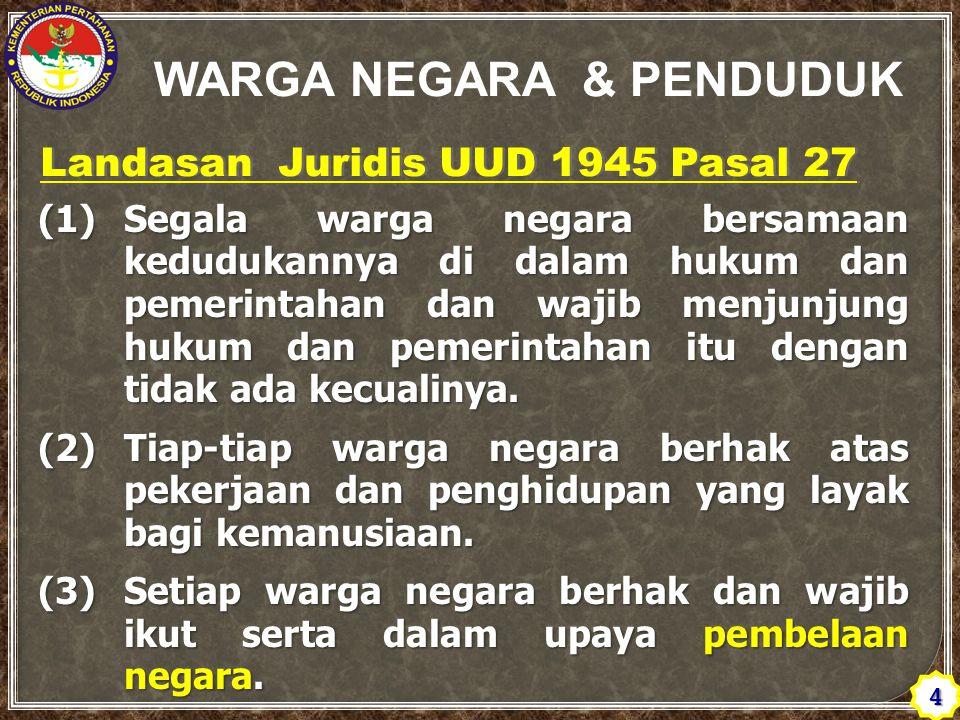 Landasan Juridis UUD 1945 Pasal 27 (1)Segala warga negara bersamaan kedudukannya di dalam hukum dan pemerintahan dan wajib menjunjung hukum dan pemerintahan itu dengan tidak ada kecualinya.