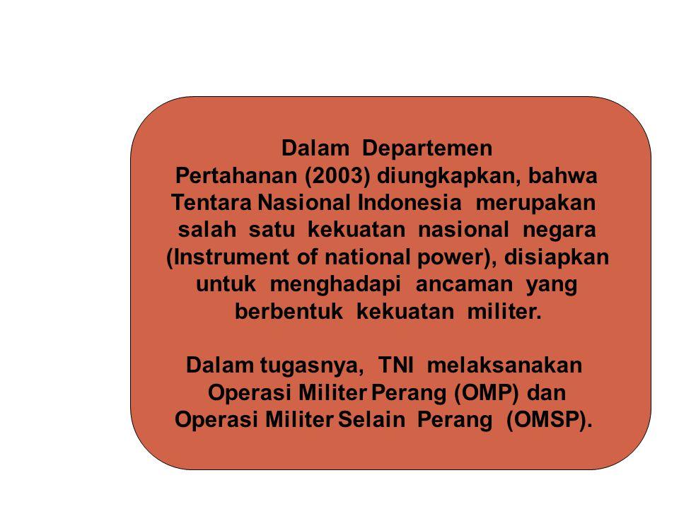 Dalam Departemen Pertahanan (2003) diungkapkan, bahwa Tentara Nasional Indonesia merupakan salah satu kekuatan nasional negara (Instrument of national