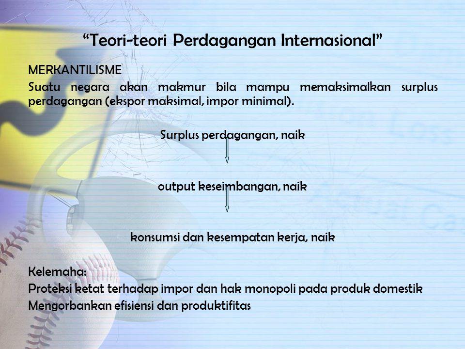 Keuntungan Perdagangan Internasional 1.Memperoleh barang yang tidak dapat diproduksi di dalam negeri 2.Memperoleh keuntungan dari spesialisasi 3.Mempe