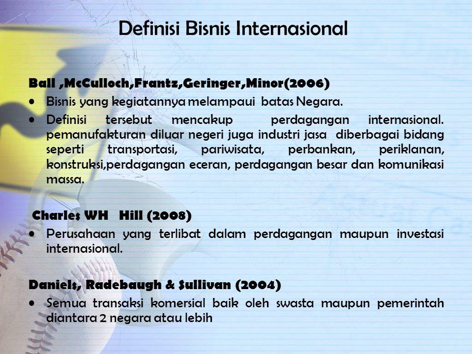 Definisi Bisnis Internasional Ball,McCulloch,Frantz,Geringer,Minor(2006) Bisnis yang kegiatannya melampaui batas Negara.