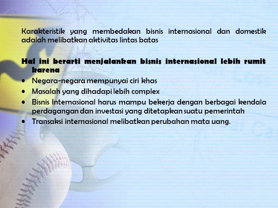 Definisi Bisnis Internasional Ball,McCulloch,Frantz,Geringer,Minor(2006) Bisnis yang kegiatannya melampaui batas Negara. Definisi tersebut mencakup pe