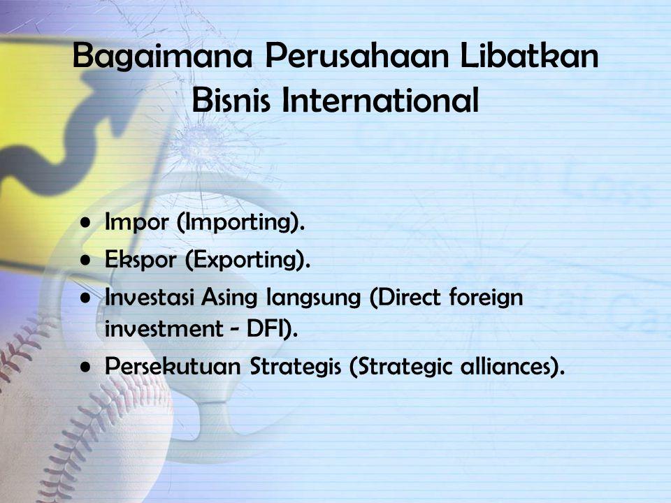 Mengapa turut dalam Bisnis International Permintaan asing yang menarik. Kapitalisasi teknologi. Gunakan sumber daya murah. Aneka ragam secara internas