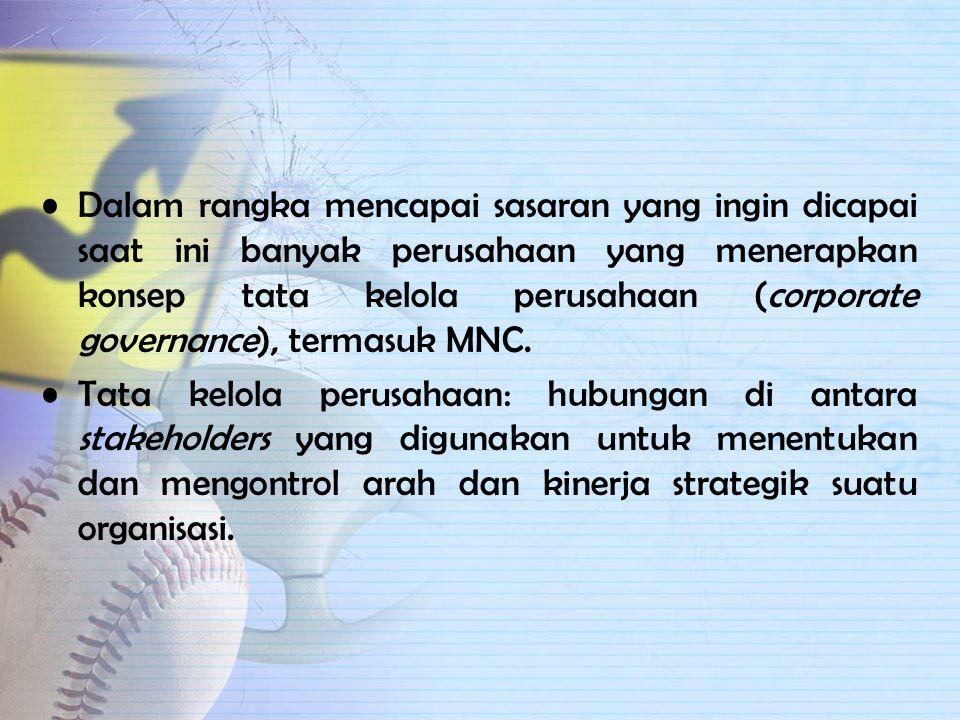 PERUSAHAAN MULTINASIONAL (MNC) MNC: perusahaan yang berada di satu negara yang mempunyai operasi produksi dan penjualan di beberapa negara lain. Jumla