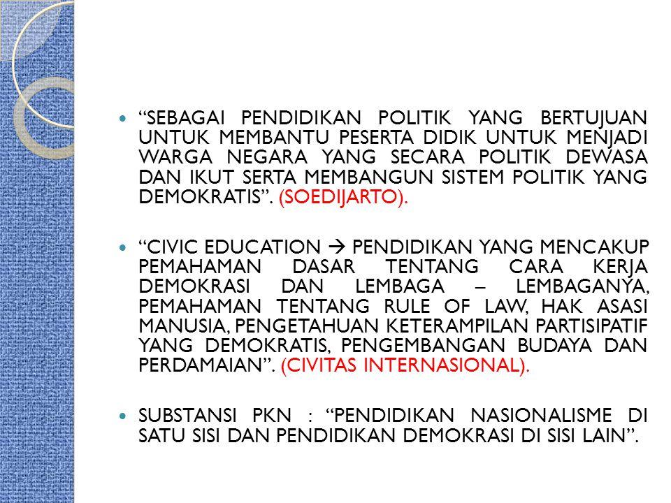 PKn Di INDONESIA 1) PKn  DULU = KEWIRAAN 2) DASAR : a.) UU RI NO.20/2003  SPN.