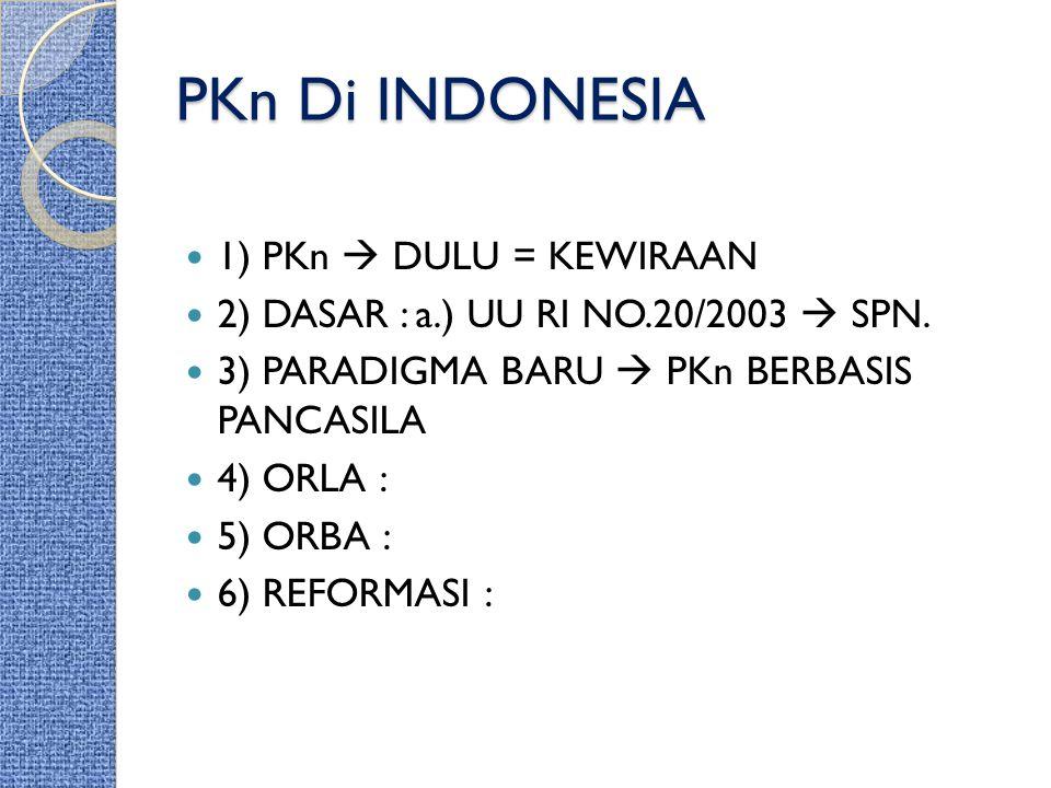 PKn Di INDONESIA 1) PKn  DULU = KEWIRAAN 2) DASAR : a.) UU RI NO.20/2003  SPN. 3) PARADIGMA BARU  PKn BERBASIS PANCASILA 4) ORLA : 5) ORBA : 6) REF