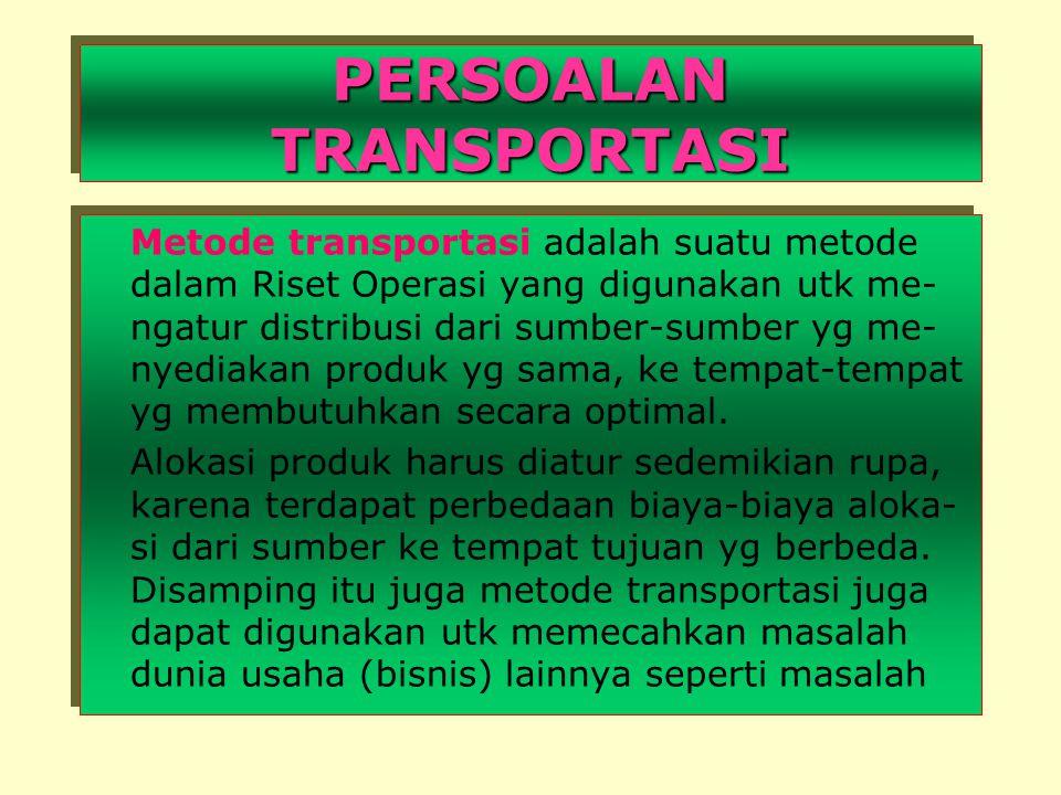 PERSOALAN TRANSPORTASI Metode transportasi adalah suatu metode dalam Riset Operasi yang digunakan utk me- ngatur distribusi dari sumber-sumber yg me- nyediakan produk yg sama, ke tempat-tempat yg membutuhkan secara optimal.
