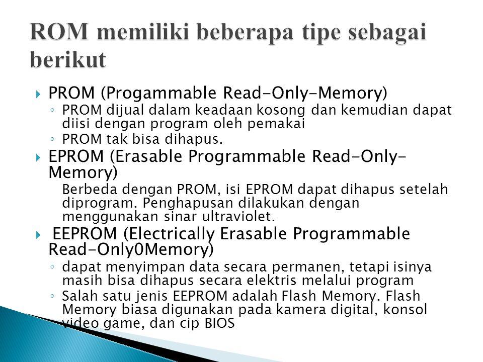  PROM (Progammable Read-Only-Memory) ◦ PROM dijual dalam keadaan kosong dan kemudian dapat diisi dengan program oleh pemakai ◦ PROM tak bisa dihapus.