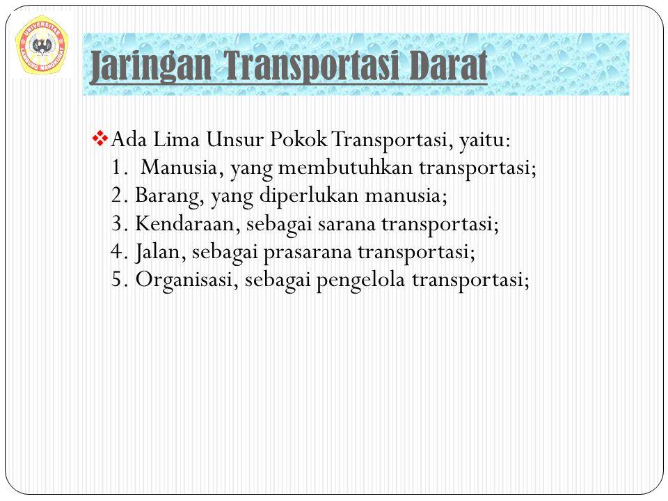  Ada Lima Unsur Pokok Transportasi, yaitu: 1. Manusia, yang membutuhkan transportasi; 2. Barang, yang diperlukan manusia; 3. Kendaraan, sebagai saran