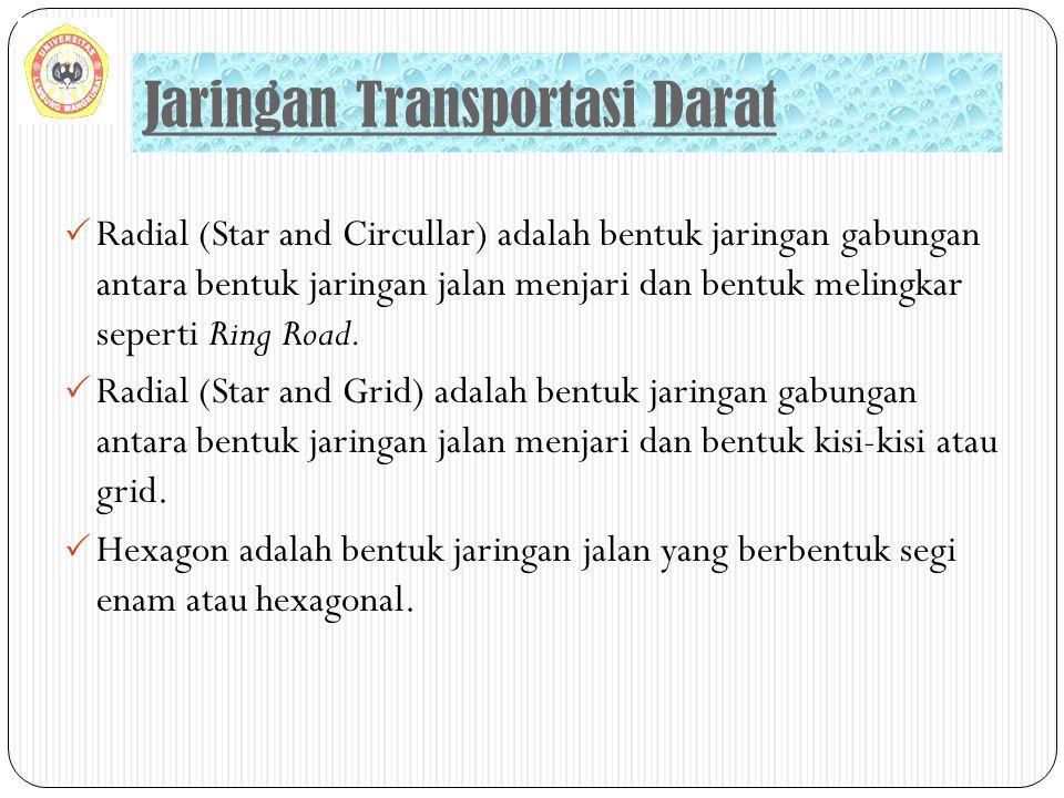 Jaringan Transportasi Darat  Radial (Star and Circullar) adalah bentuk jaringan gabungan antara bentuk jaringan jalan menjari dan bentuk melingkar se