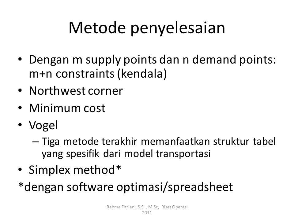 Metode penyelesaian Dengan m supply points dan n demand points: m+n constraints (kendala) Northwest corner Minimum cost Vogel – Tiga metode terakhir m